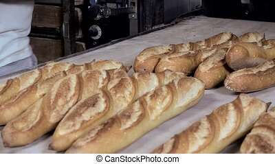preparation of the french baguette - output of cooked French...