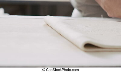 Preparation of the puff dough in bakery. Full HD