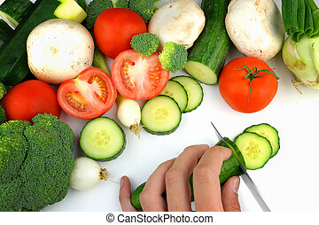 Preparation of vegetables on a white background