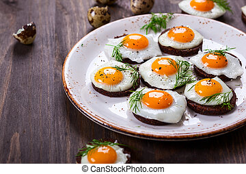 quail egg canapes - Preparation quail egg canapes with ...
