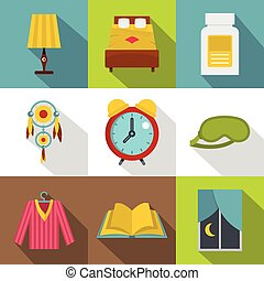 Preparation to sleep icon set, flat style