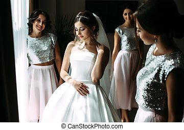 Preparation to the wedding of the bride and bridesmaids