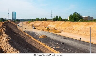 Preparatory work before asphalting on a large highway, time-lapse