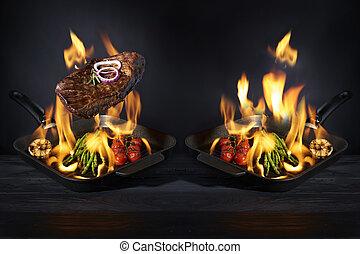 preparazione, fuoco, concept., ristorante, fiamma, verdura, bistecca, scuro, pan, albergo, servizio, fondo.