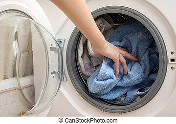 preparazione, per, lavare