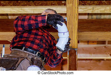 Prepare a pipe joint with sealing pipe renovation new home construction