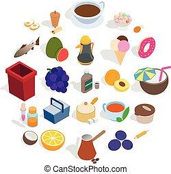 Prepare breakfast icons set, isometric style - Prepare...