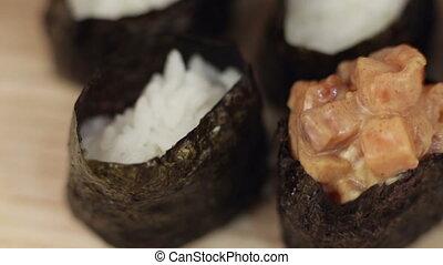 prepare sushi hand spoon spicy
