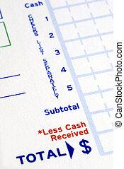 Prepare the deposit slip to make a bank deposit
