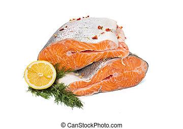 Prepared and cut salmon fish