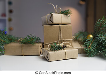 Prepared Christmas presents. Holiday and christmas concept. Wrapped christmas gifts.