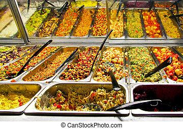 Prepared foods - Big display in supermarket with prepared...
