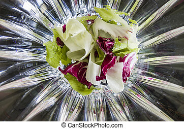 Prepared for mixed salad of lettuce and radicchio
