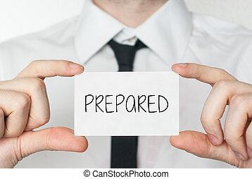 prepared., hombre de negocios, tenencia, tarjeta comercial