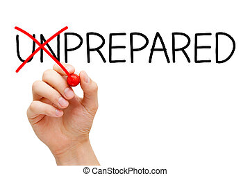 Prepared Not Unprepared - Hand turning the word Unprepared...