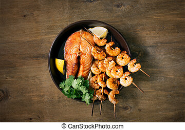 Prepared seafood on the table
