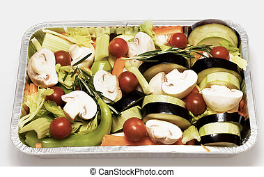 Prepared in foil pan with different vegetables