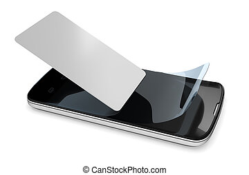 preparing a smartphone with a protection film - 3d rendering...