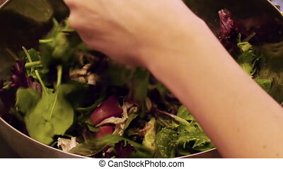 Preparing Arugula Salad