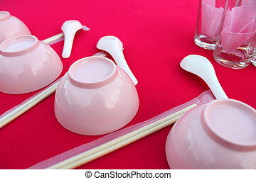 Preparing Chinese Tables Dinner Party - Preparing chinese...