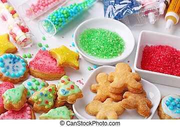 Preparing christmas cookies, close up