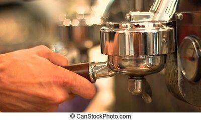 Preparing Coffee with Machine, Closeup - Preparing Coffee...