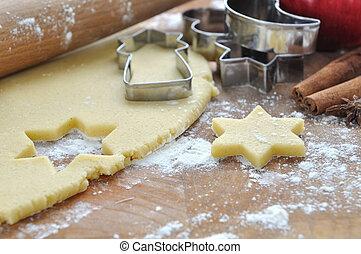 preparing cookies - dough for preparing cookies with cookie...