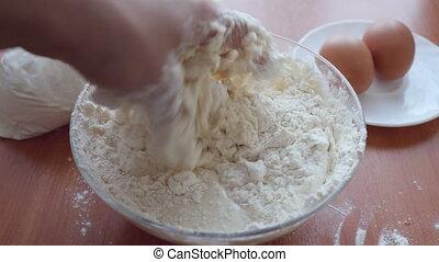 Preparing Dough, hands mixing ingredients.