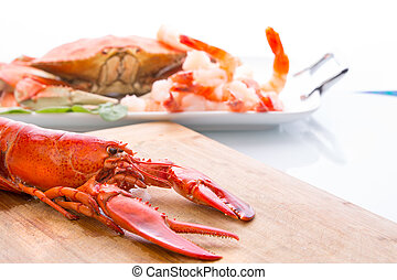 Preparing Dungeness Crab and Red Lobster