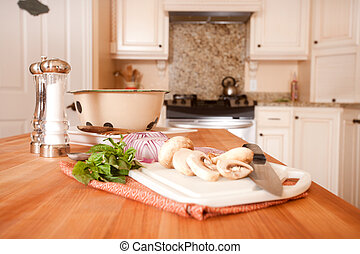 Preparing Food on Kitchen Island