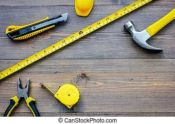 Preparing for appartment repair. Set of construction tools...