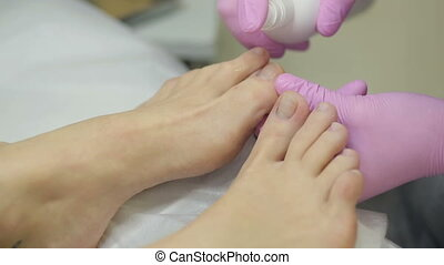 Preparing for pedicure - Professional pedicure with at spa...