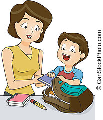 Preparing for School - Illustration of a Mother Helping Her...