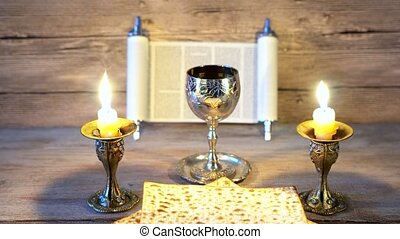 Preparing for Shabbat: matzot,grape juice jewish holiday...