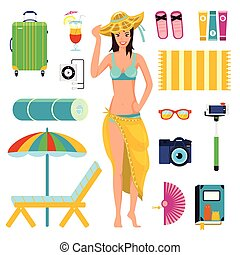 Preparing for summer beach holiday, to vacation. A girl in bathing suit with elements of beach rest: hat, sunglasses, chaise longue, camera, selfie stick, book, fan, suitcase. Vector illustration set.