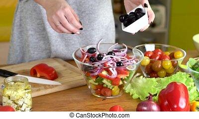 preparing fresh ceasar salad - preparing fresh and tasty...