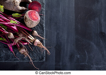 Preparing healthy, vegetarian food with beetroots