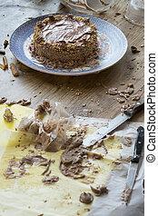 preparing homemade chocolate cake