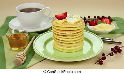 Preparing Honey Pancakes - Preparing strawberry pancakes...
