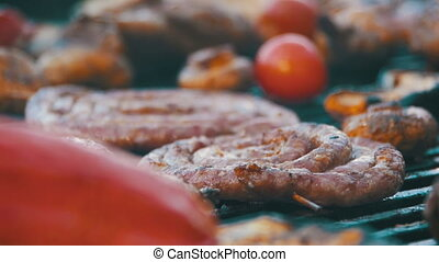 Preparing Meat and Vegetables on the Grill. Slow Motion