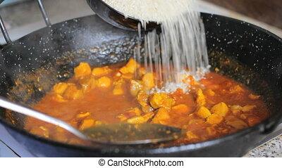 Preparing paella. Spanish tradition