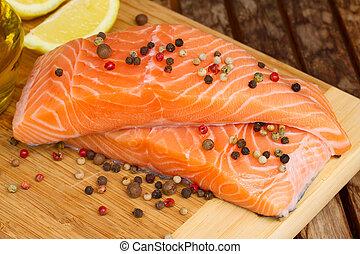 preparing salmon steak