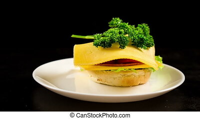 Preparing sandwich with cheese in dish