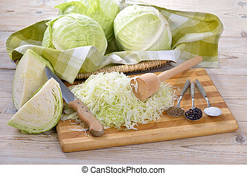 Preparing sauerkraut - Food fermentation, preparation for...