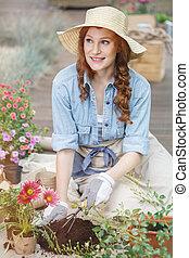 Preparing soil for replanting flowers