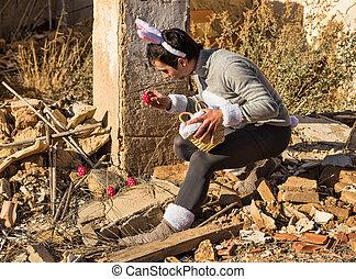 Preparing the egg hunt