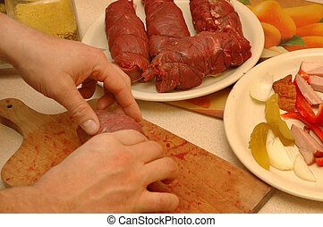 preparing the meat roll