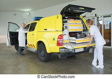 preparing the medical vehicle