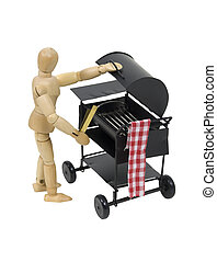 Preparing to use a metal barbecue grill used for easy weekend cooking with friends - path included