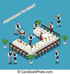 Preparing To Feast Isometric Composition
